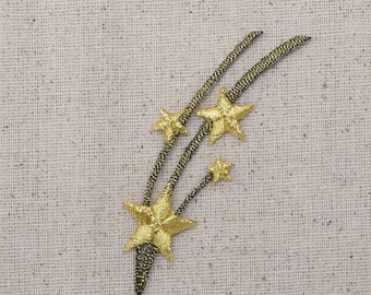 Shooting Stars - Gold and Bronze - Celestial - Iron on Applique - Embroidered Patch - 150216-A