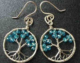Aquamarine Tree-Of-Life Earring Sterling Silver WireWrapped Tree of Life Earring Aquamarine Jewelry March Birthstone Pisces 19th Anniversary