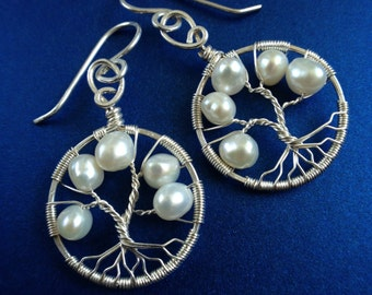 White Freshwater Pearl Tree of Life Silver Earrings June Birthstone Bridal jewelry