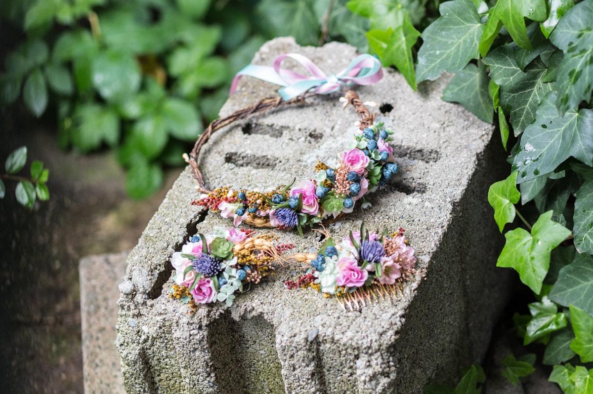 Wedding Set Wedding Flowers Flower Crown Hair Clip Hair Comb