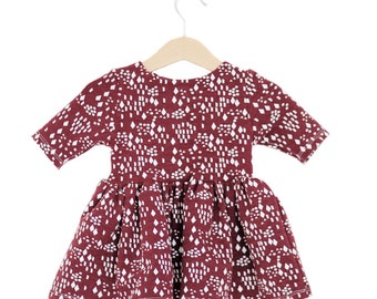 Wine Diamonds & Dots Organic Cotton Baby/Toddler WINTER Dress
