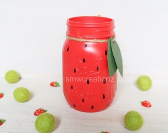 Strawberry Mason Jar- Desk Decor- Summer - Picnic - fruit