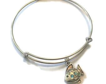 Fish Charm Bracelet - Fish Charm Bangle - Fish Jewelry - Adjustable Bangle Bracelet - Silver Jewelry - Stacking Bangles