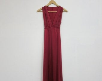 1980's 'Vanity Fair' Dupont Nylon Ruby Red Deep-V Nightgown, SM/MED