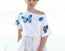 Unique white t-shirt with embroidered butterflies, hand made application, micro modal fabric,bateau neck, perfect for summer, festival style
