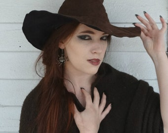Rustic Brown Suede Witch or Wizard Hat