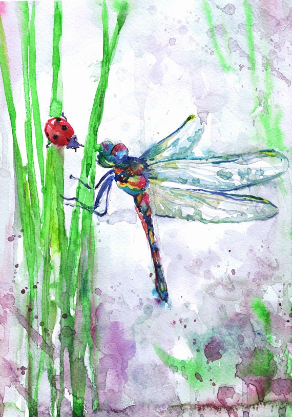Dragonfly Art Insect Print Abstract Watercolor Flowers