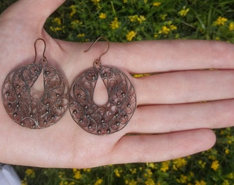 Earrings of copper, handmade