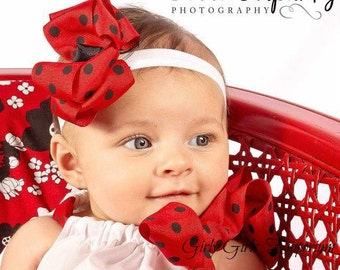 READY TO SHIP Red and Black Polka Dot Ladybug hairbow