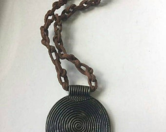 Knotted Leather Cord Pendant Necklace, Brown, Handmade, Free Shipping