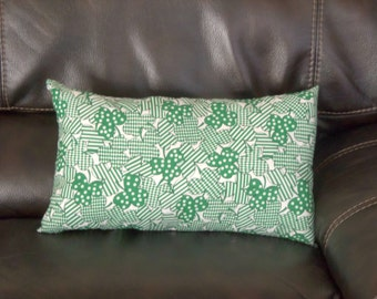 Saint Patrick's Day, Decorative Pillow, Green Clovers, Cotton, Hand sewn, Rectangle, Complete Pillow