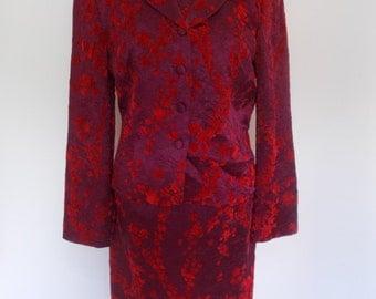 Vintage dress suit 90s Marilyn Anselm for Hobbs Dress Jacket suit size small devorre red velvet floral