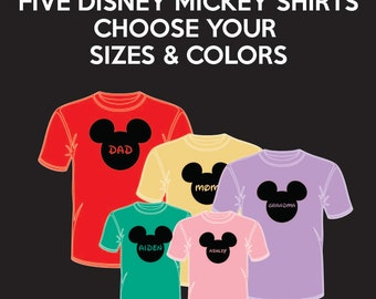FIVE (5) Disney Mickey Ears - Matching Disney Family Vacation T-Shirts - Infant Through Adult Sizes Available Extremely Fast Shipping