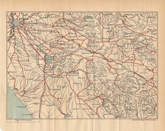 1907 Rome Italy Vintage Map