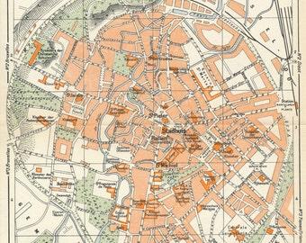 1950 Louvain Belgium Vintage Map