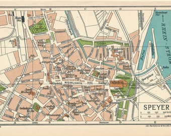 1933 Speyer Germany Antique Map