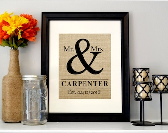Mr and Mrs Burlap Wedding Sign
