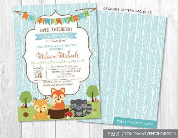 Woodland Baby Shower Invitation - Boy Baby Shower Invite - Forest Animals - Fox, Deer, Raccoon - Oh Deer