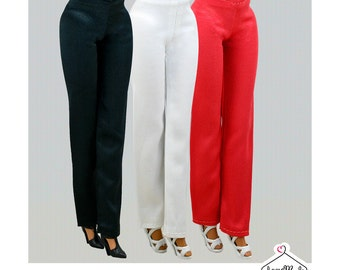 Barbie Pants (satin)- 3 Colors- Handmade Barbie Clothes by Lovemade-Fashion Doll Pants