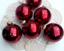 "Vintage Candy Apple Red Christmas by Krebs Designer Glass Ornaments with Crowns - German Glass Set of 6 3 1/2"" in Original Box Made in U.S."