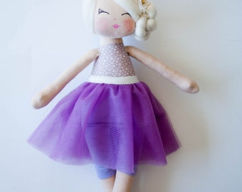 Ballerina doll cloth doll handmade doll rag doll blonde hair purple tutu skirt gift