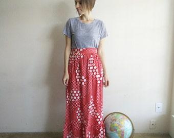 Vintage 1970s Deadstock Red Polka Dot Maxi Skirt