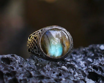 "Sterling Silver Labradorite Ring ""Kongo"" MADE TO ORDER, mens ring, mens jewelry"