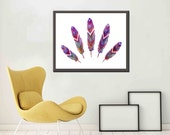 Native American Art Feathers Native American Feather Art Feather Wall Art -Large printable File - 54x35 inches
