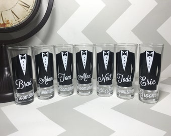 Personalized Shot Glasses With Tuxes Groomsmen Wedding Will You Be My Groomsman