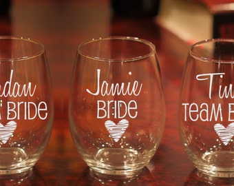 3 Team Bride Glasses, Bachelorette Party Glasses, Team Bride Wine Glasses, Etched Glass, Bachelorette Party, Girls Weekend Glasses, Set of 3