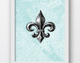 Digital Prints, Fleur Di Lis, Fleur Di Lis Prints, Vintage French Map With Fleur De Lis, Paris Vintage Map, Teal Colors, Paris Map, French