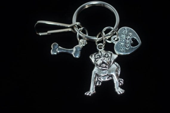 Keychain Dog & Bone, Dog Keychain, Dog Lover Keychain
