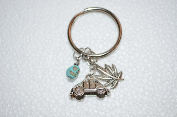 Keychain VW Beetle with Skull & Pot leaf Charms, Volkswagen Keychain, Weed Leaf Keychain, Marijuana Keychain
