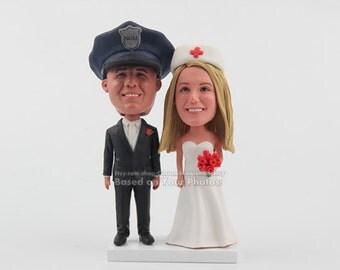 police et infirmire topper gteau de mariage wedding cake topper drle couple drle de gteau gteau gteau personnalis - Figurine Gateau Mariage Personnalis