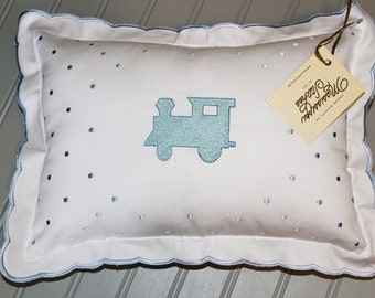 Nursery Pillow - Baby Pillow - Train Pillow - Baby Boy Pillow - Crib Pillow