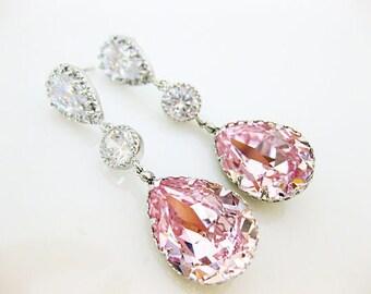 Bridal Blush Pink Teardrop Earrings Swarovski Rosaline Earrings Light Pink Earrings Bridesmaids Gift Wedding Jewelry Bridal Jewelry (E165)