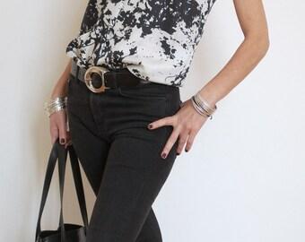Silk Top - Summer Shoulder Top - Black and White Top - Print Silk Top - Shoulder Strap Dress - Modern Top - Silk Print Clothing - Inc Print