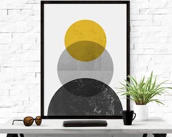Geometric Abstract, Boho Decor, Wall Art Printable, Circle Geometric, Yellow Black, Scandinavian Print, Geometric Print, Digital Download