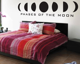Phases of the Moon - Custom Wall Decal. Type Optional, Any Color, Home Decor, Wall Art, Vinyl Decor, BoHo, Bedroom, Living Room