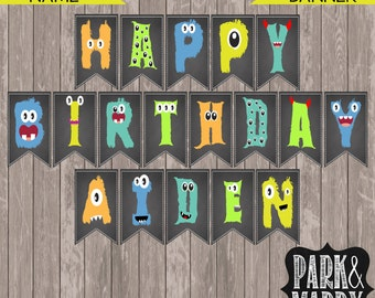 Custom Little Monster Birthday Banner with Name // Monster Party // Monster Decorations // Printable Happy Birthday Banner