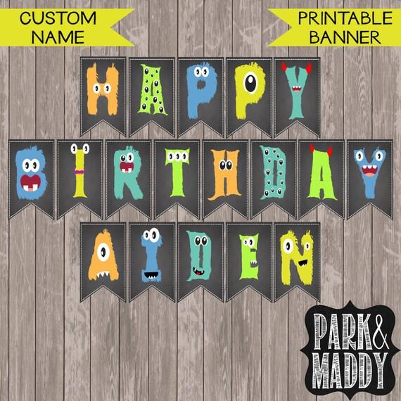 Custom Little Monster Birthday Banner With Name // Monster