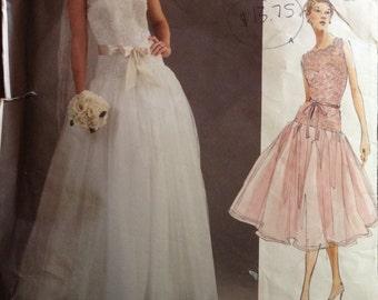 Vogue V2892 - Dropped Waist Wedding or Bridesmaid Dress with Princess Seams - Size 6 8 10