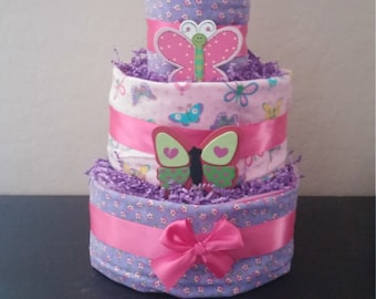 3 Tier Butterfly Diaper Cake FREE SHIPPING