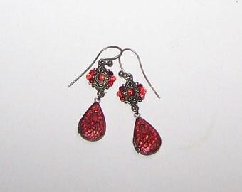 Red Drop Earrings / Red Rhinestones / Bohemian / Art Deco