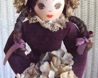"1980's ANITA MANCINI.Extremely pretty,orig.,hand made wooden doll in crimson velvet dress/mob cap- +""Original Anita Mancini "" tag.One owner."