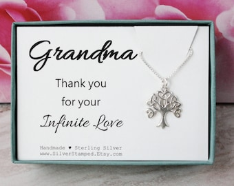 Gift for Grandma family tree of life sterling silver necklace gift from bride thank you grandmother necklace gift box