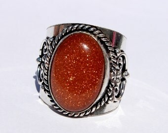 Goldstone Ring / Handmade Silver Ring / Semi Precious Gemstone Ring / Cabochon Ring / Size US 10.75 RE20