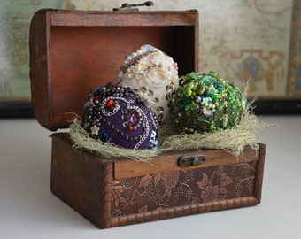Set of three bead embroidered dragon eggs. Different Easter eggs for decoration. White, green, purple.