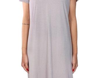 SALE! Bamboo v-neck dress. Grey dress. Simple soft Dress. Handmade. Casual Tee and dress.