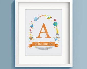 Personalised Name Print - Initial Print - Custom Nursery Art - Name above Crib - Space Poster - Child Name Print - Sweet Cheeks Images